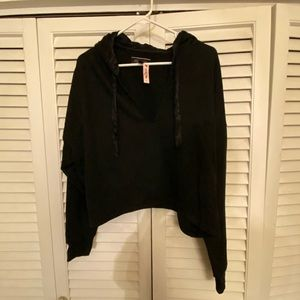 Victoria's Secret Black Cropped Hoodie New